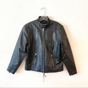 Wilsons Black Leather Moto Jacket Lace Corset Back